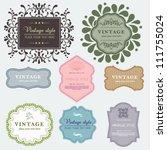 vintage vector set labels.... | Shutterstock .eps vector #111755024