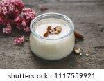 almond milk yogurt. vegetarian... | Shutterstock . vector #1117559921