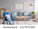 blue armchair with cushion and... | Shutterstock . vector #1117571534