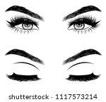 hand drawn woman's sexy makeup... | Shutterstock .eps vector #1117573214