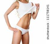 Perfect female body isolated on white background - stock photo