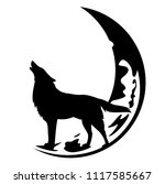 howling wolf and crescent moon... | Shutterstock .eps vector #1117585667