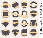 set of blank empty dark shields.... | Shutterstock .eps vector #1117588475