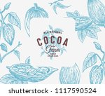 hand drawn cocoa beans branch... | Shutterstock .eps vector #1117590524