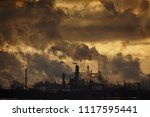 the plant emits smoke and smog... | Shutterstock . vector #1117595441
