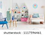blue armchair in spacious...   Shutterstock . vector #1117596461