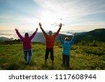 happy friends  travelers with... | Shutterstock . vector #1117608944