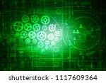 2d illustration gear network   Shutterstock . vector #1117609364