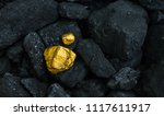 hard coal in the pile. a piece... | Shutterstock . vector #1117611917