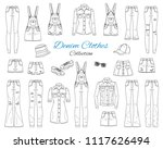 denim clothes collection.... | Shutterstock .eps vector #1117626494