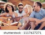 group of happy young people... | Shutterstock . vector #1117627271