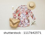 floral shirt dress  straw... | Shutterstock . vector #1117642571
