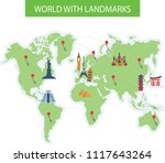 travel map with landmarks | Shutterstock .eps vector #1117643264