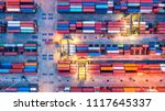 container ship in export and... | Shutterstock . vector #1117645337