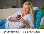 beautiful and happy blond woman ... | Shutterstock . vector #1117649201