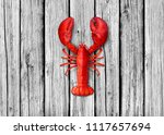 lobster on old white wood... | Shutterstock . vector #1117657694