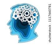 head with gear brain paper art... | Shutterstock .eps vector #1117660781