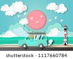 paper art summer background...   Shutterstock .eps vector #1117660784