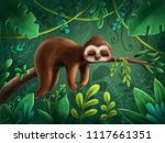 Stock photo illustration with a cute sloth 1117661351
