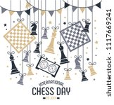 international chess day is... | Shutterstock .eps vector #1117669241