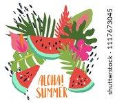 minimal summer trendy vector... | Shutterstock .eps vector #1117673045