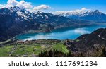 View of Lake Thun (Thunersee) from Harder Kulm - stock photo