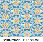 kissing fish and waves colorful ... | Shutterstock .eps vector #1117701551