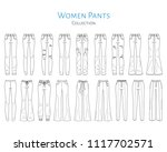 women's  pants  collection ... | Shutterstock .eps vector #1117702571