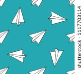 paper airplane seamless pattern | Shutterstock .eps vector #1117703114