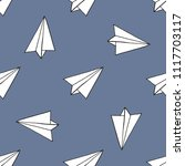 paper airplane seamless pattern | Shutterstock .eps vector #1117703117