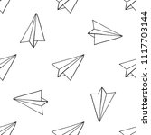 paper airplane seamless pattern | Shutterstock .eps vector #1117703144