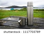 iron thermos and mug on... | Shutterstock . vector #1117703789