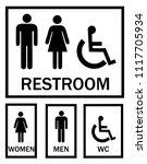 wc sign for restroom. toilet... | Shutterstock .eps vector #1117705934
