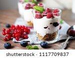 natural yogurt with fresh... | Shutterstock . vector #1117709837