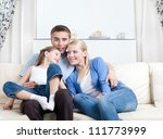 nuclear family laugh sitting on ...   Shutterstock . vector #111773999