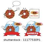 chocolate donut cartoon mascot...   Shutterstock .eps vector #1117753091