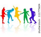colored silhouettes of happy... | Shutterstock .eps vector #111775604