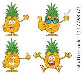 pineapple fruit with green... | Shutterstock .eps vector #1117768571