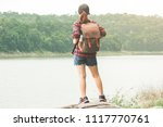 hipster young girl with bright... | Shutterstock . vector #1117770761