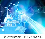 a modern house and windmills on ... | Shutterstock .eps vector #1117776551