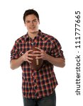 Holding Football College Student Casual Dressed   Isolated on White Background - stock photo
