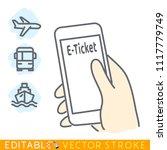 e ticket purchased via mobile...   Shutterstock .eps vector #1117779749