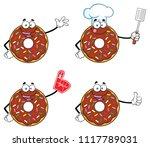 chocolate donut cartoon mascot...   Shutterstock . vector #1117789031