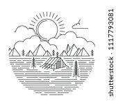 sunrise monoline camping... | Shutterstock .eps vector #1117793081