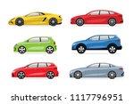 set of modern cars in flat... | Shutterstock .eps vector #1117796951