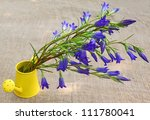 Bouquet of blue gentian in a yellow decorative watering can against a canvas - stock photo