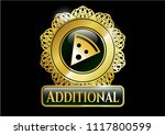 golden emblem with pizza slice ... | Shutterstock .eps vector #1117800599