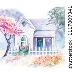 House In The Spring. Watercolo...