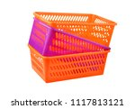 color plastic basket  isolated... | Shutterstock . vector #1117813121