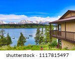 Cabins in the Grand Teton National Park offer spectacular views of the lake and the mountains.